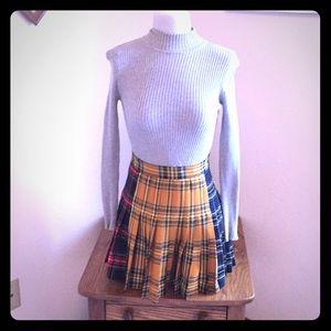 Zara Patchwork Plaid Pleated Mini Skirt
